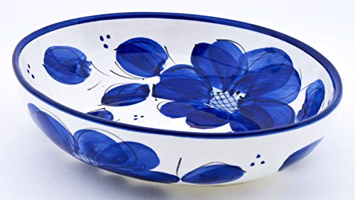 ART ESCUDELLERS Plateau Ovale en céramique Faite et Peint à la Main avec décoration Bleu Classic. 24 cm x 19 cm x 6 cm