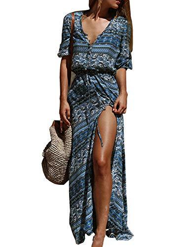 Yidarton Robe Femme Bohème Impression Manche 1/2 Col V Chic Été Floral Robe Maxi Robe de Cocktail Soirée Ceremonie Plage (Bleu 2, Medium)