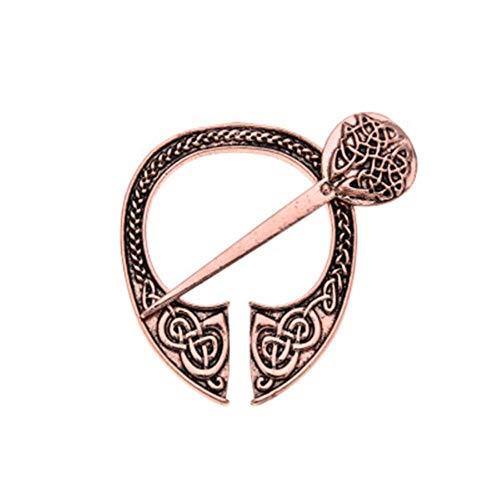 Mujeres Hombres Forjado a mano Medieval Norse Runic Viking Joyas Hebillas de cinturón Vintage Capa vikinga Broche Capa Pin-Bronce rojo antiguo