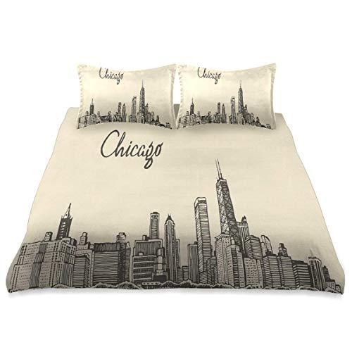 966 Chicago-Skyline-Vintager städtischer Druck,Multicolor Superfine Fiber Bettbezug Kissenbezug Set