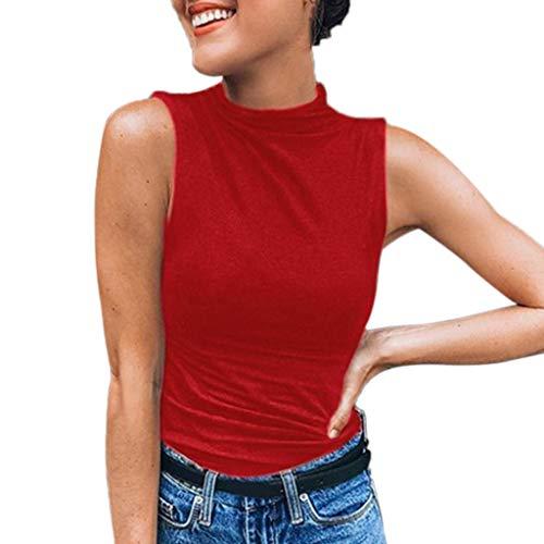 Janly Clearance Sale Chaleco de verano para mujer, sin mangas, de color liso, informal, camiseta de tallas grandes, túnicas de camiseta de tirantes para mujer, para Pascua, San Patricio (rojo)