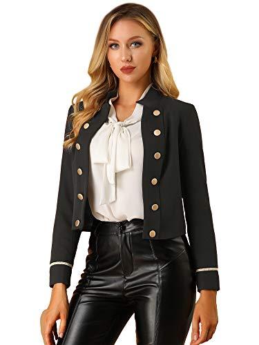 Allegra K Women's 1960s Vintage Steampunk Open Front Button Decor Casual Military Crop Jacket X-Small Black