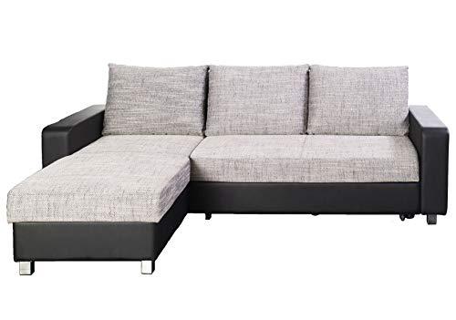 ARBD hoekbank, slaapbank LUSY, binnenvering, zijkanten universeel te monteren, kleurkeuze Lederlook zwart/structuurstof grijs.