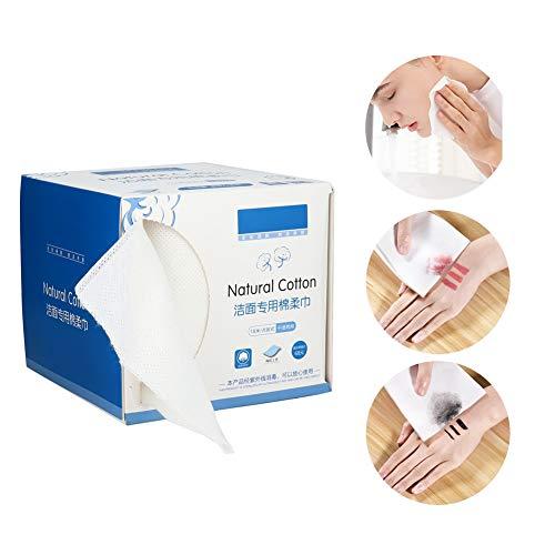 Wegwerpdoekjes van katoen voor het gezicht, voor gelaatsreiniging, dubbele tabletten van biologisch katoen voor het gezicht, make-up, katoenen stempel, dieptereiniging, reisdoek van CO