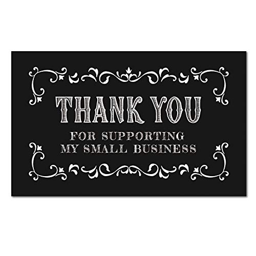 50 Thank You Cards for Small Business, Black We Appreciate You Supporting My Business Customer Appreciation Note Cards, Package Insert for Purchase Order, 3.5 x 2 inches.