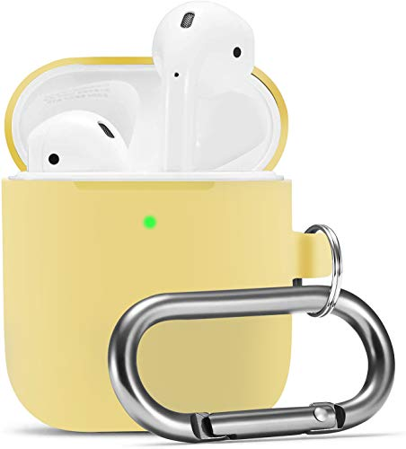 Camyse Airpods Case, Airpod Silicone Skin Cases Cover, Full Protective Durable Shockproof Drop Proof with Keychain Compatible with Apple Airpods 2 & 1 Charging Case ,Airpods