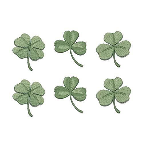 Amosfun 6 Stücke Kleeblatt Patch Sticker Flicken Aufnäher Aufkleber Bügelbild Aufbügler Aufbügelbilder Stickerei Patches für Kinder Jacken Jeans Hut Irish St. Patricks Day Kostüm