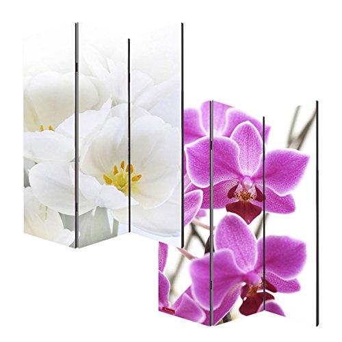 Mendler Foto-Paravent Paravent Raumteiler Trennwand M68-180x120cm, Orchidee