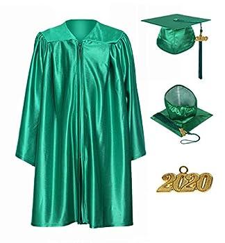 GraduationService Unisex Kindergarten Graduation Shiny Gown Cap with 2021 Tassel Year Charm Emerald Green