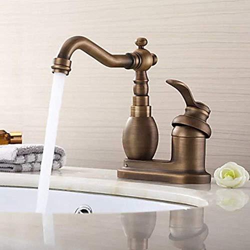 KANJJ-YU Todo cobre antiguo doble agujero dos lavabo creativo lavabo hogar giratorio grifo cromado