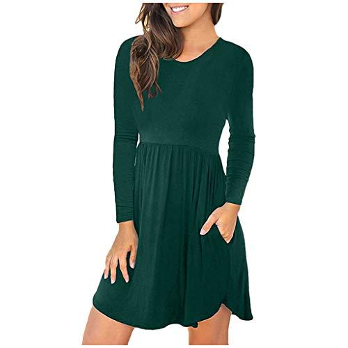 XINAINI Damen Strickkleid,Einfarbig Kleid Langarm BeiläUfige Shirt Lose Tunika, Frauen Skaterkleid Rundhals Fattern Stretch Basic Kleider...