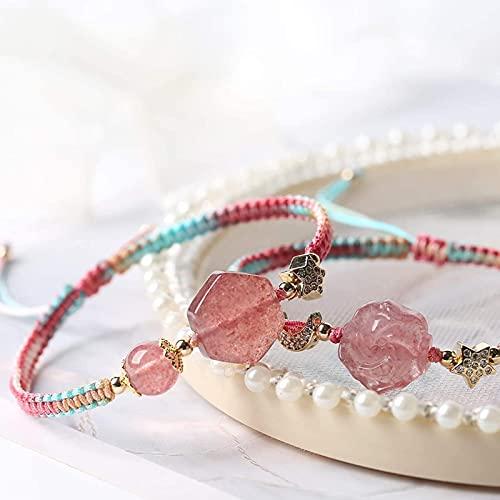 Pulsera suerte, Feng Shui Wealth Bracelets brazalete de cristal steberry cuarzo chakra piedras preciosas rosa neón regalo regalo rico afortunado amuleto para amor popularidad prosperidad dinero mujer