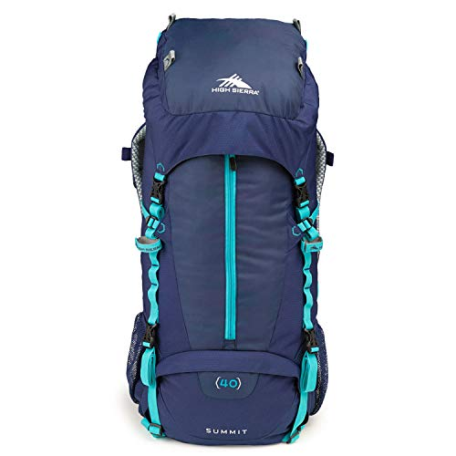 High Sierra Summit Top Load Internal Frame Pack, True Navy/True Navy/TropTeal, 40L