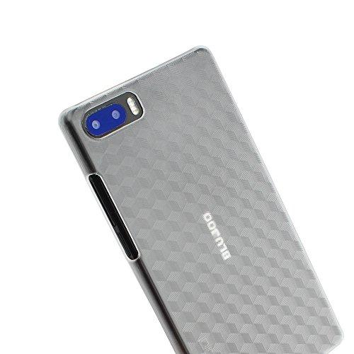 Ycloud Tasche für Bluboo S1 Hülle, Quadratisches Streifenmuster Handykasten Hartschalen-Rückabdeckung Handy case Backcover Kunststoff-Hard Shell Handyhülle Hülle - Transparentes weiß
