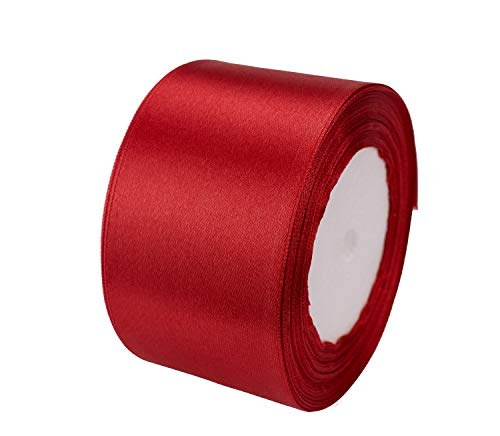 ATRibbons 25 Yards 2 inches Wide Satin Ribbon Perfect for Wedding,Handmade Bows and Gift Wrapping (Red)