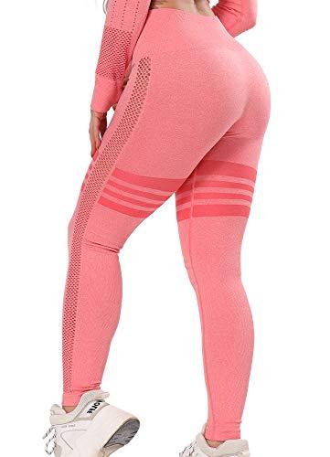 FITTOO Hollow - Leggings para mujer con 4 rayas, transpirables, elásticos, con cintura alta #02 - Rosa S