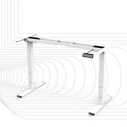SportPlus Höhenverstellbarer Schreibtisch Elektrisch Verstellbarer Tisch für Büro, Homeoffice, Memory-Steuerung, Bewegungserinnerung, Anti-Kollisions-Schutz (62-127 cm Höhe, Weiß)