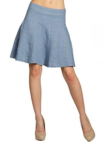 Caspar RO013 Damen Sommer Leinenrock, Größe:S - DE36 UK8 IT40 ES38 US6, Farbe:Jeans blau
