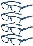 TBOC Gafas de Lectura Presbicia Vista Cansada - [Pack 4 Unidades] Graduadas +4.00 Dioptrías Montura de Pasta Azul Patillas Extra Largas Colgar Cuello Hombre Mujer Unisex Lentes Aumento Leer Ver Cerca