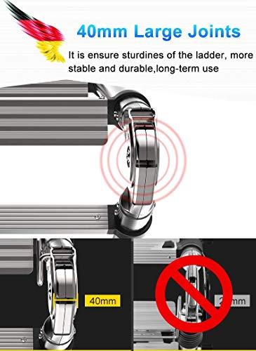 HLL Ladders,Ex-Large Heavy Duty Aluminum Multi Purpose Folding Ladder Telescoping Extension Ladders for Home Loft Office, Tall 3.4M/4.2M/5M/5.8M/6.6M/7.4M/8.2M,3.3M+3.3M(6.6M/22Ft)
