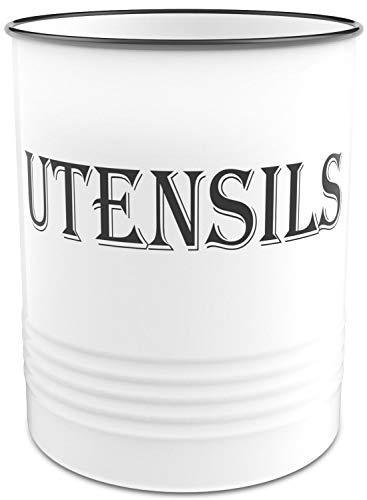 Utensil Holder – Large Kitchen Utensil Crock – Cooking White and Black Utensils Holder – Farmhouse Countertop Utensil Container – Modern Utensils Organizer