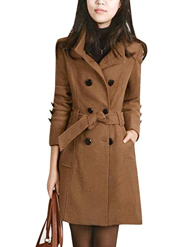 Tanming Womens Winter Casual Lapel Wool Blend Double Breasted Pea Coat Trench Coat (Camel, Large)
