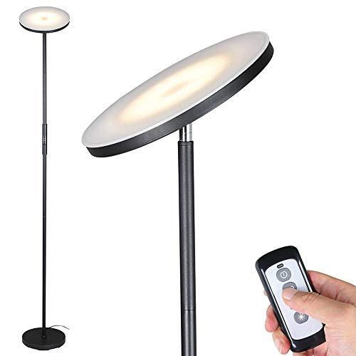 lampada da terra telecomando Bakaji Lampada Piantana da terra a LED ad Alta Luminosità 30W 2500 Lumen Luce Dimmerabile Colorazione Regolabile Accensione Gestione Touch o Telecomando Design Moderno 175cm in Metallo Nero