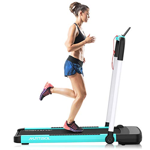Murtisol 2 in 1 Folding Treadmill,2.25HP Under Desk Electric Treadmill, Installation-Free with APP, Remote Control and LED Display, Portable Walking Machine for Home, Office & Gym, Gray & White & Blue