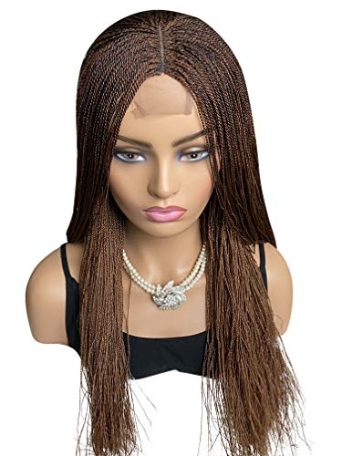 JBG SERVICES Authentic African Braided Wigs - Micro Twist Wig for African American Women - Lace Closure for Natural-Look Hairline - 2 Hair Pins Included - 18 Inch Color 30/33 Mixed