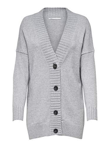 ONLY Damen ONLSANDY L/S Button Cardigan CC KNT Strickjacke, Light Grey Melange, S