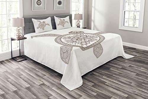 ABAKUHAUS Schildkröte Tagesdecke Set, Floral Shell Spiralen, Set mit Kissenbezügen Sommerdecke, für Doppelbetten 220 x 220 cm, Kastanienbraun & Weiß