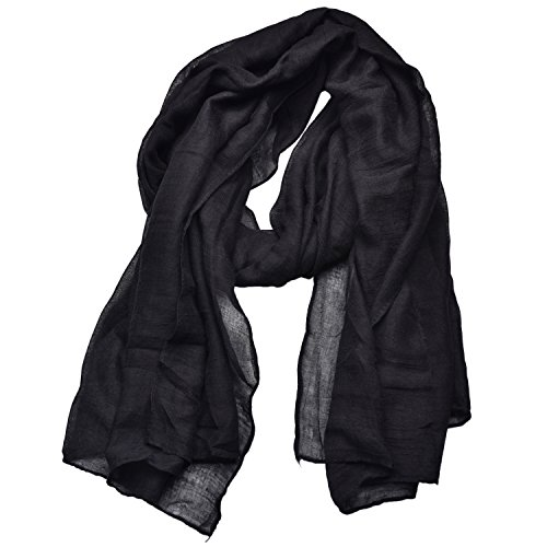 Woogwin Light Soft Scarves Fashion Scarf Shawl Wrap For Women Men (Black)