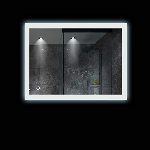 Turefans Spiegel mit Beleuchtung, Bad Spiegel, Kühle weiße LED, Antibeschlagfunktion, vertikale/horizontale Federung, 70 * 90cm