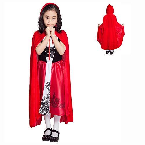 LLSS Halloween Cosplay Kostüm Roter Umhang Mädchen Kostüm (Prinzessin Kleid + Umhang) Halloween Karneval Rotkäppchen