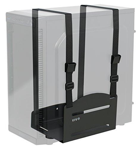 VIVO Black Universal PC Wall Mount - Adjustable Steel Bracket   Computer Case Open Frame Strap Holder (MOUNT-PC03V)