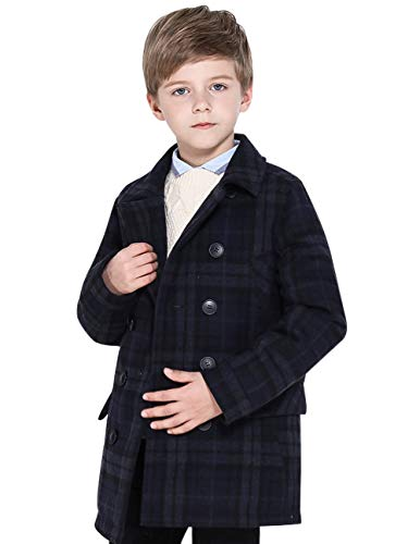 SOLOCOTE Boys Coat Elegant Notched Collar Double Breasted Wool Blend Over Pea Coat, SLN6005 Navy/Grey Check 9-10Y