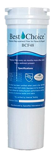 Best Choice Water Filter BCF48 Compatible With Fisher & Paykel 836848 Refrigerator Replacement Cartridge E402B, E442B, E522B, RF90A180DU, EFF-6017A (1-Pack)