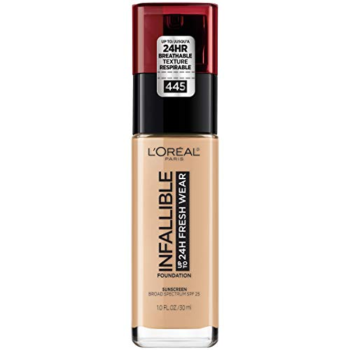 L'Oréal Paris Makeup Infallible up to 24HR Fresh Wear Liquid Longwear Foundation, Lightweight, Breathable, Natural Matte Finish, Medium-Full Coverage, Sweat & Transfer Resistant, Vanilla, 1 fl. oz.