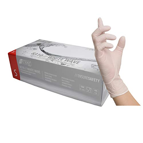 weiße Nitrilhandschuhe, Einweghandschuhe 100 Stück 1 Box Einmalhandschuhe, Untersuchungshandschuhe, Nitril Handschuhe, puderfrei, ohne Latex, unsteril, latexfrei, disposible gloves (M)