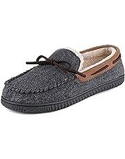 ULTRAIDEAS Heren Comfort Mocassin Pantoffels, traagschuim huisschoenen, met anti-slip rubberen zool, voor binnen en buiten, Grijs, 47 EU