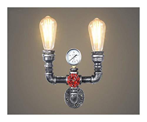 Hierro industrial del tubo de agua de la vendimia Luz Pared del moho pared retro luz pasillo luces for Loft Cafe Salón Dormitorio de noche (Lampshade Color : B Style SilverNoBulb)