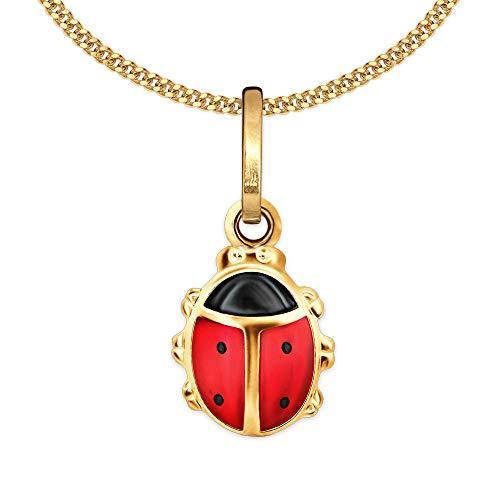 Clever Schmuck Juego de colgante dorado para niña con diseño de mariquita, 9 mm, color rojo y negro, parte trasera cerrada con cadena de eslabones de 38 cm, plata de ley 925 chapada en oro