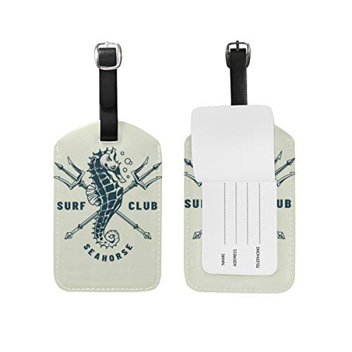 Chic Houses Seahorse Animal - Etiquetas de equipaje de piel para maleta de viaje, etiqueta de identificación para maleta 2031567