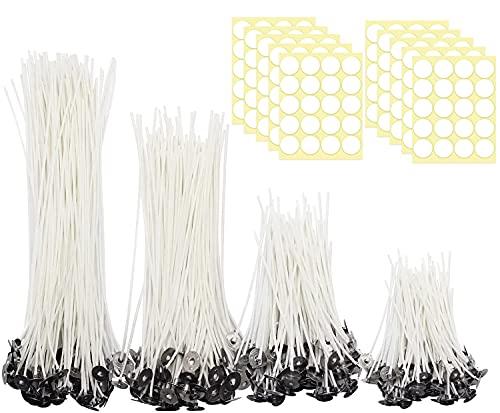 JEMESI 200 piezas Mechas de Velas en 4 Tamaños Diferentes(5/9/15/20cm), con Soporte Fijo y 200 Pegatinas de Mecha de Puntos de Doble Cara, para Hacer Velas, Vela DIY