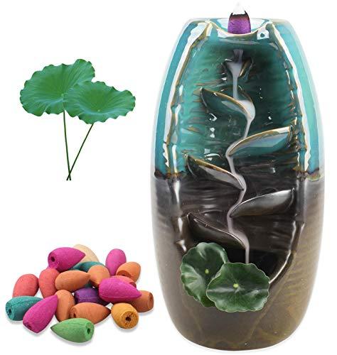 Räucherwasserfall-Keramik Rückfluss Räucherstäbchenhalter Brenner-Relaxing Räuchergefäß, Contains 25 Reflow Incense Cones, Hauptdekoration-Handwerks-Geschenk