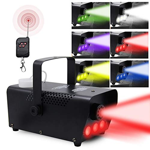 ATDAWN Fog Machine with Lights, Wireless Remote Control, Smoke Machine with 7 Colors Lights for Stage Party Effect, Halloween Wedding Special Event
