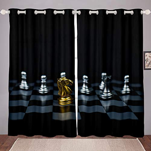 Castle Fairy International Chess Printed 3D Window Curtain Blackout Room Darkening Microfiber Black Thermal Insulated Brushed Curtains Warmly Polyester 2 Panel Set, 84Wx63L inch
