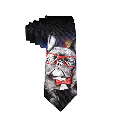 Men Fashion Slim Ties Necktie Casual And Formal Suit Uniform Ties, Business Party Groom Gentlemen Tie Necktie, Funny French Bulldog With Glass Regular Necktie Ties Creative Gift