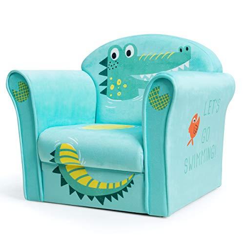 COSTWAY Kindersessel Krokodil Kindersofa Kindercouch Babysessel für Mädchen und Jungen Kindermöbel Kinder Sessel Schaumstoff (Grün)
