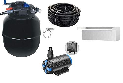 AquaOne Teich Filteranlage Set Nr.57w CPF 50000 Druckfilter 37-180W regelbare Eco Teichpumpe Teichgröße bis 80000l Teichschlauch